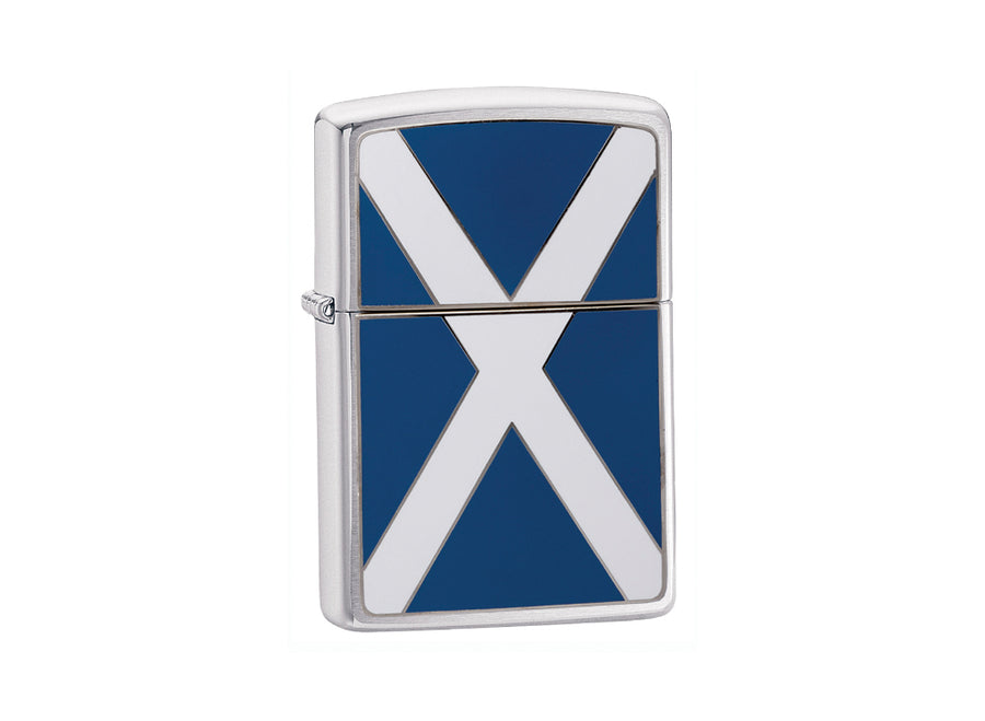 Zippo Scotland Flag Lighter - Brushed Chrome
