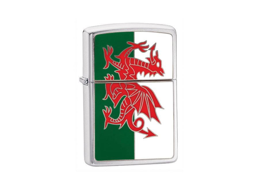 Zippo Wales Flag Lighter - Brushed Chrome