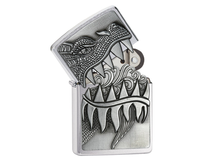 Zippo Surprise Dragon Lighter - Brushed Chrome