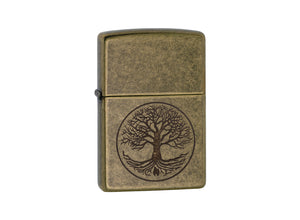 Zippo Tree of Life Lighter - Antique Brass
