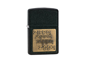 Zippo Gold Logo Lighter - Black Crackle