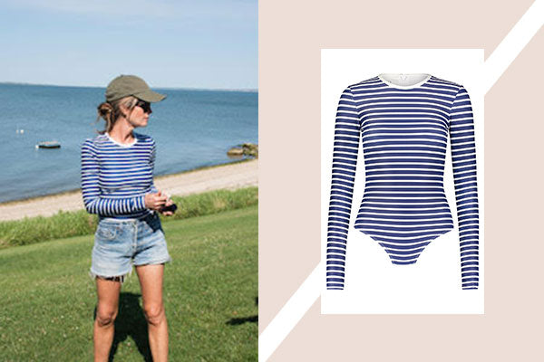 This Striped Maillot Puts a Stylish Spin on Sun Protective Swimwear