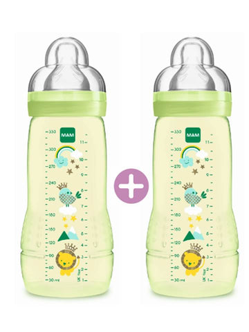 MAM Easy Active Baby Feeding Bottle 330ml - Double Pack