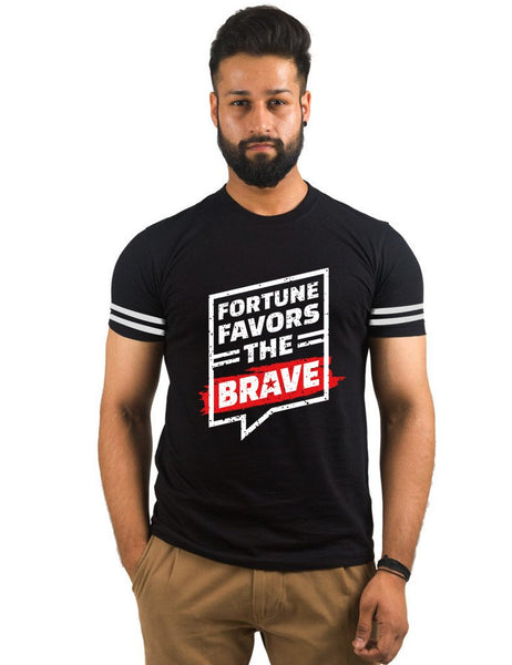 Black Round Neck T-Shirt - Fortune Favors