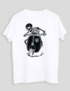 SKULL ON SCOOTER WHITE T-SHIRT