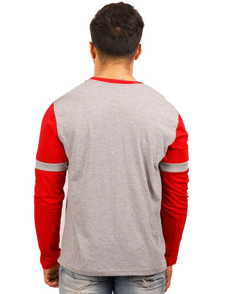Red-Grey Round Necks T-Shirt - PANEL SPOT TRIM