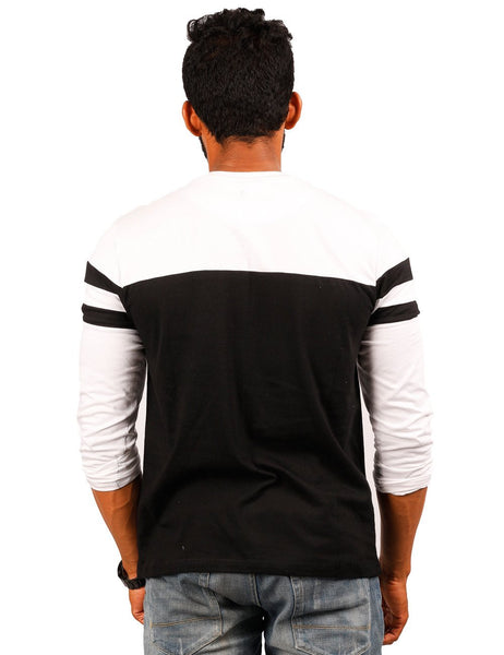 White-Black Round Necks T-Shirt - PANEL 30-70