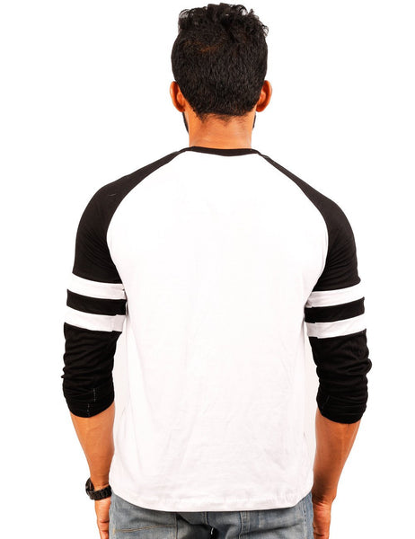 Black-White Round Necks T-Shirt - RAGLAN SPOT TRIM