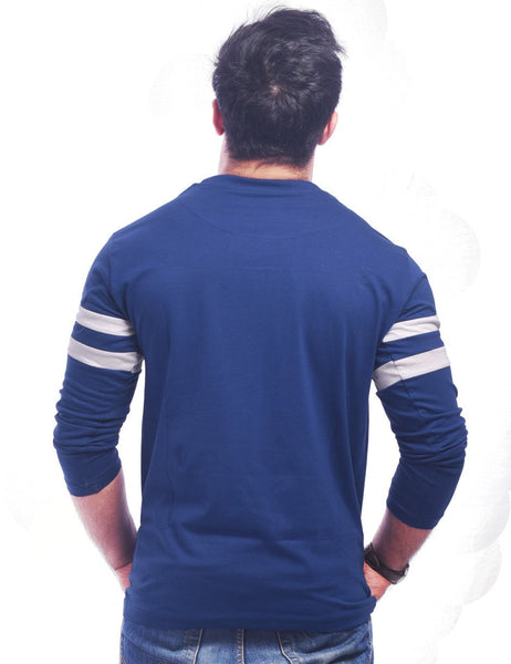 Blue Round Necks T-Shirt - LET'S MAKE