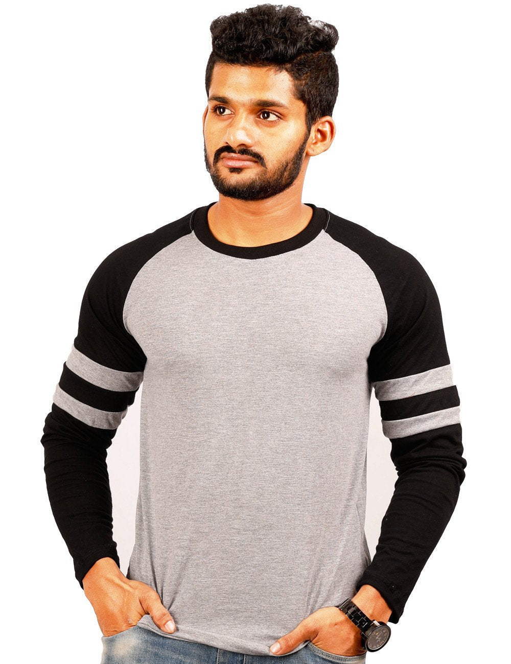 Black-Grey Round Necks T-Shirt - RAGLAN SPOT TRIM