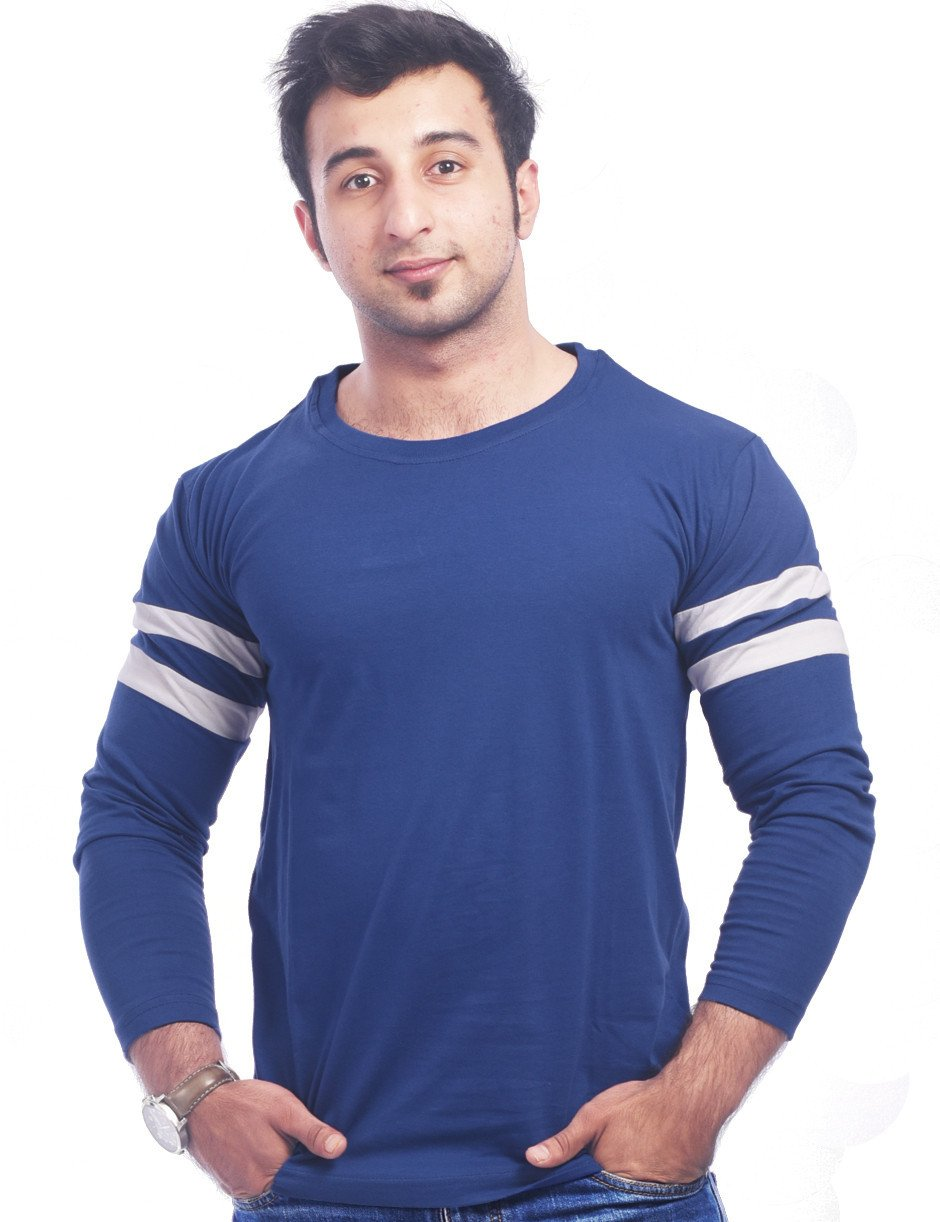 Blue Round Necks T-Shirt - Plain Blue Full Sports Trim