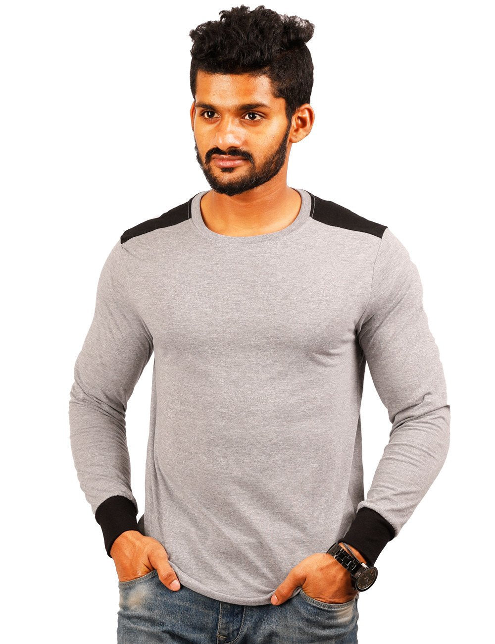 Grey Round Necks T-Shirt - PLAIN - SHOULDER