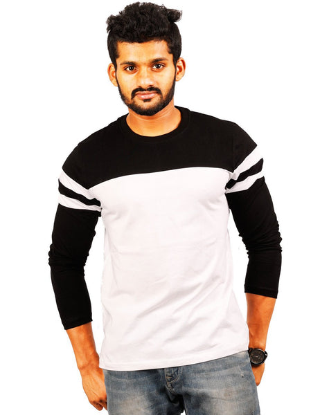Black-White Round Necks T-Shirt - PANEL 30-70