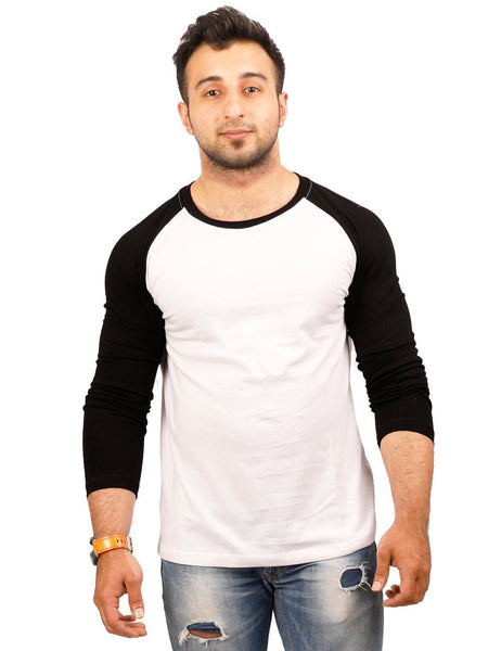 Black-White Round Necks T-Shirt - RAGLAN