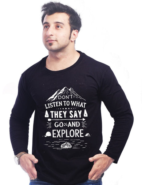Black Round Necks T-Shirt - DON T LISTEN