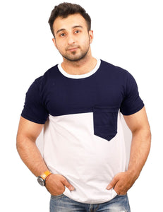 Navy-White Round Neck T-Shirt - PANEL 30-70 POCKET