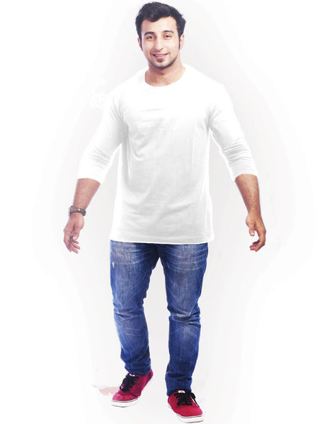 White Round Necks T-Shirt - WHITE PLAIN FULL
