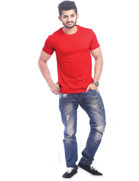 Red Round Neck T-Shirt - Plain Red