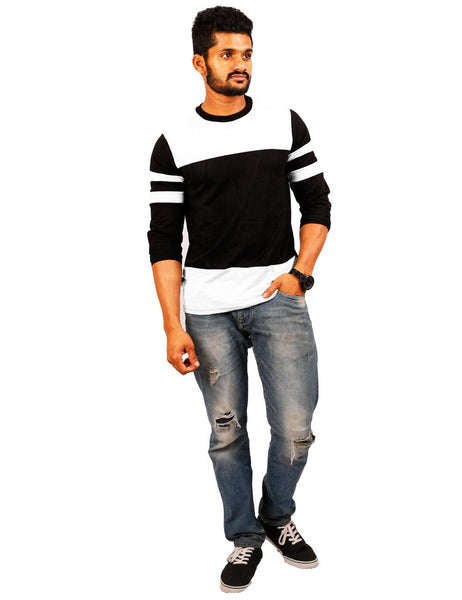 White_Black_White Round Necks T-Shirt - Double Pannel ST