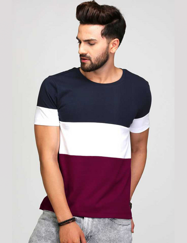 Maroon White And Navy Panel T-Shirt