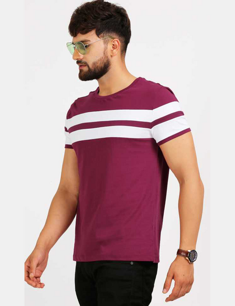 Maroon White Trim T-Shirt