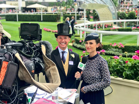 Britney Eurton wearing Fling Beret by Louise Georgette Millinery with Frankie Dettori