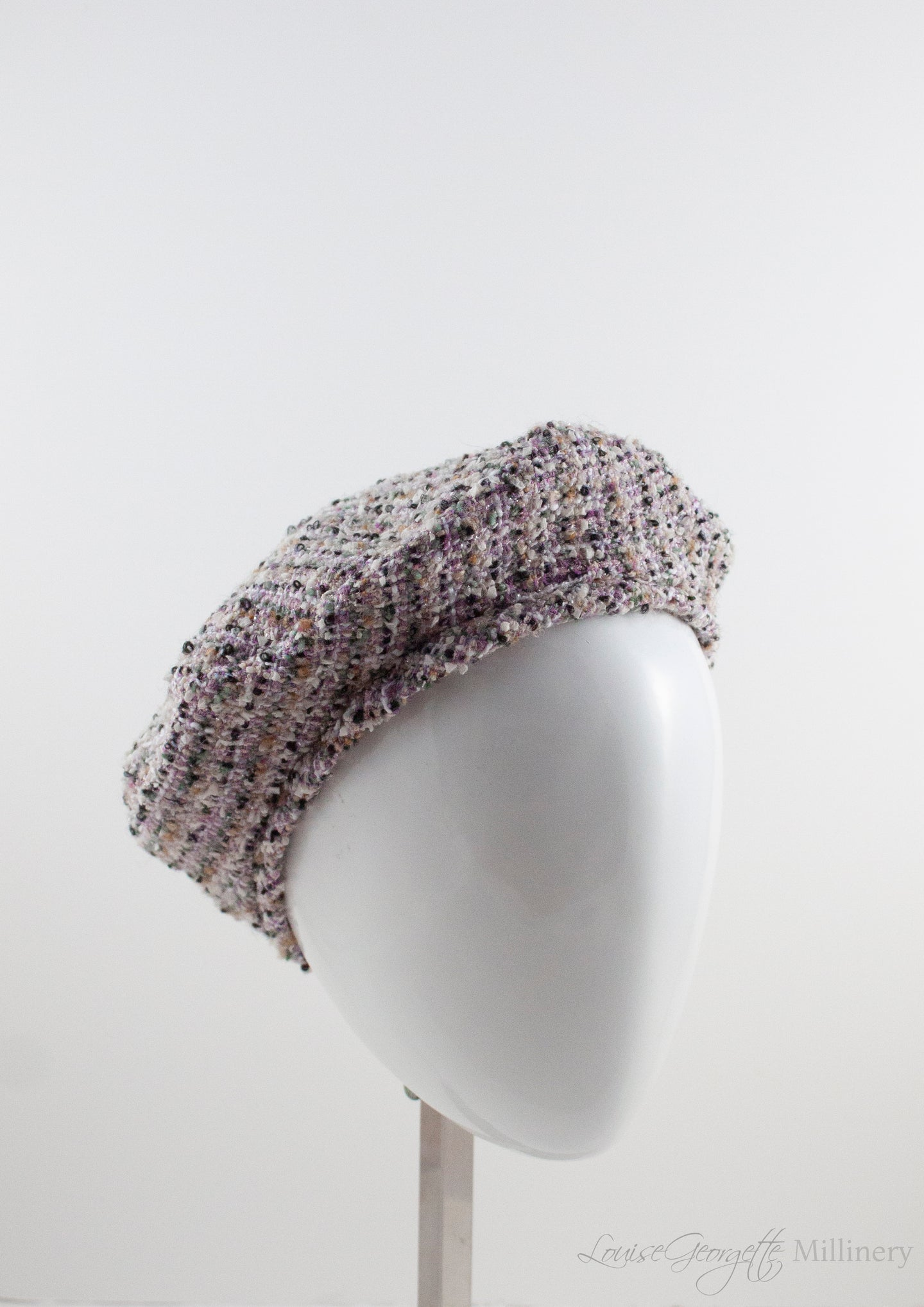 Tartan plaid beret made in lilac, cream, silver and Black.