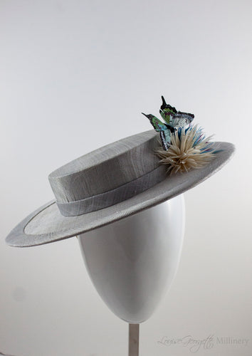Silver / Grey Boater with Aster feather flowers and butterfly