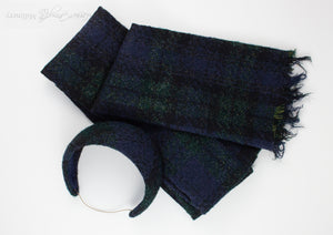 Tartan plaid headband and matching scarf made in Navy, Green and Black.