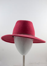 Front view of Rabbit Fur Felt Salmon Fedora with Tiffany inspired silver coloured chain