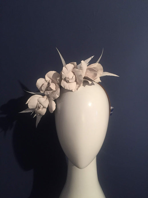 Leather and feather rose flower crown