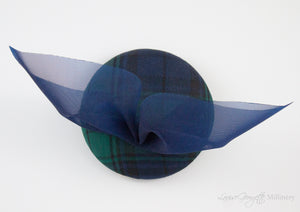 Bespoke Black watch Tartan / plaid  pillbox hat with bow. Top view