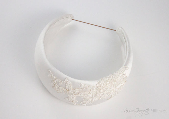 White Satin and Guipure Lace headnband. Top view.