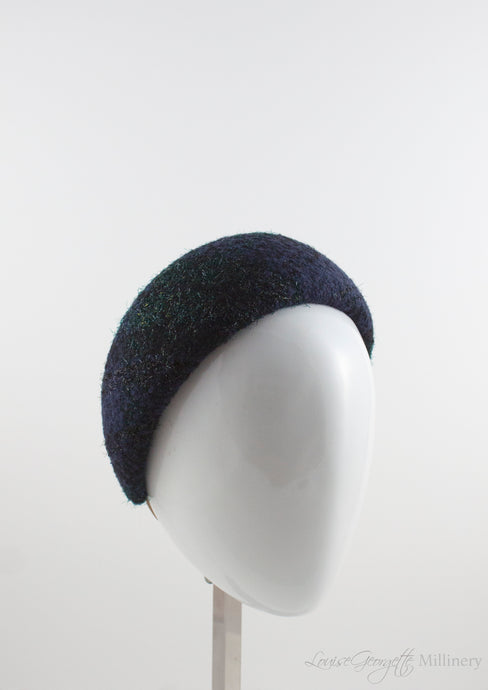 Navy and Greed tweed fabric headband