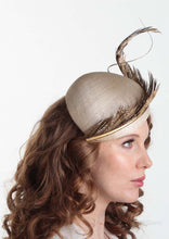 Allegra gold feathered straw Beret on model. Millinery handmade in London. Side view.