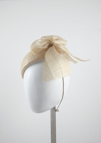 Straw Beret with side bow. Handmade Millinery, made in London side view.