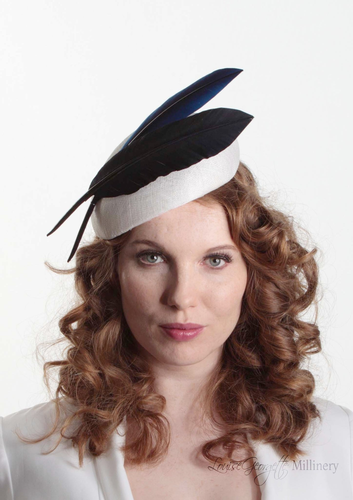 Brigitta two quill Beret on ivory straw. Millinery handmade in London. Front view.