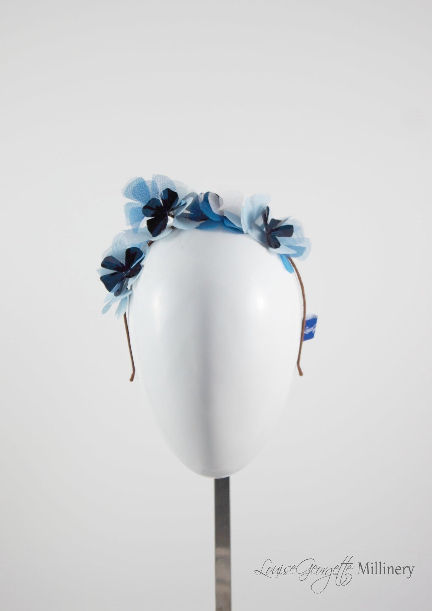 Metallic Flower Headband in Pale pink and dark blue