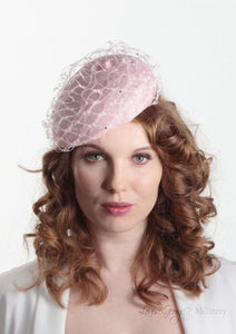 Frenchie Pink waffle beret, handmade in London. model front view. Louise Georgette Millinery