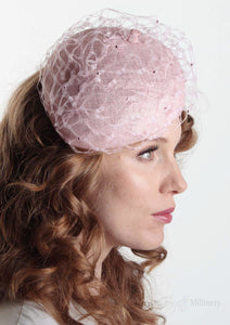 Frenchie Pink waffle beret, handmade in London. model side view. Louise Georgette Millinery