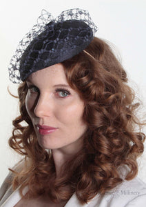 Frenchie Navy waffle Beret hat, handmade in London. model front view. Louise Georgette Millinery