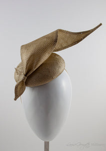 Gold straw button hat with twisted tie