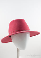 3/4 view of Rabbit Fur Felt Salmon Fedora with Tiffany inspired silver coloured chain