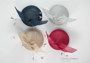 Four hats with feathers. Top view in different colours. Royal Ascot, Royal enclosure approved. Millinery handmade in London. Louise Georgette Millinery