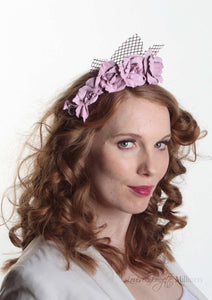 Rosie pale lilac leather flower crown on lattice. Model side view. Millinery handmade in London.