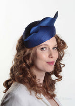 Royal Blue Silk Abaca Beret. Side view. Royal enclosure approved. Millinery handmade in London. Louise Georgette Millinery
