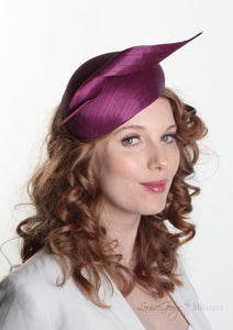 Luxury Beret with Silk Abaca twist. Model Side view. Millinery handmade in London.