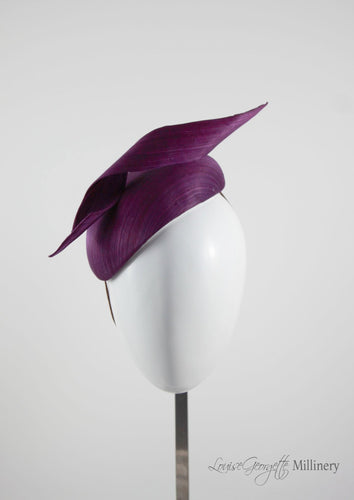 Silk Magenta Beret hat with twist detail. Handmade in London, Millinery suitable for racing, weddings and other special occasions.