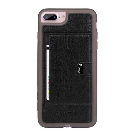 Capa Iphone 7/8 Plus 100% Original Pierre Cardin Couro Premium Preto
