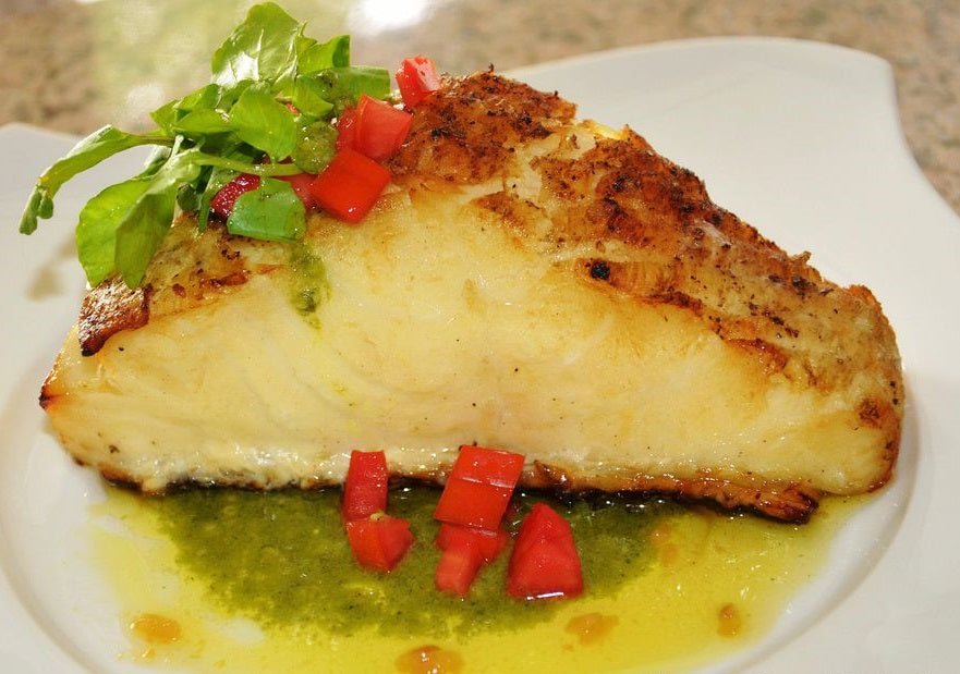 Grilled Chilean Sea Bass With Pesto